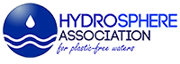 "Hydrosphere Association's logo, a blue sphere with two stylized white waves and a drop of water falling over it, the name and motto ""for plastic-free waters"""