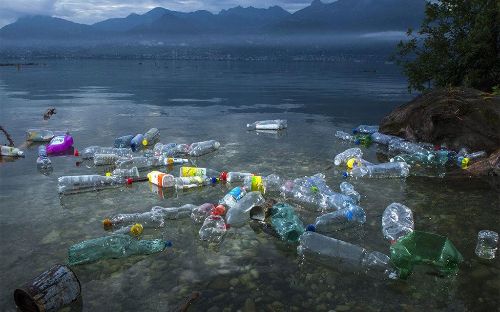 Floating plastic bottles on the Lake Geneva