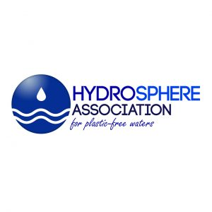 """Hydrosphere Association's logo, a blue sphere with two stylized white waves and a drop of water falling over it, the name and motto """"for plastic-free waters"""""""
