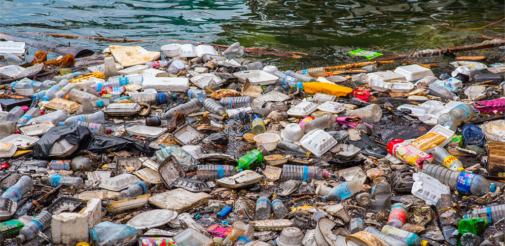 Photo of floating plastic waste, because nobody cleans up the waters, i.e. the hydrosphere