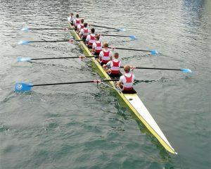 Rowers on a canoe